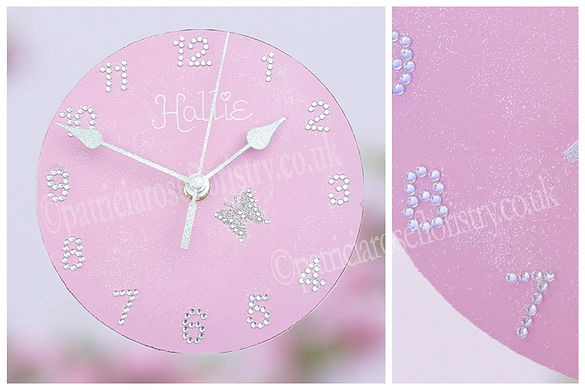 PRF - HANDMADE GLITZY PINK CLOCK COLLAGE