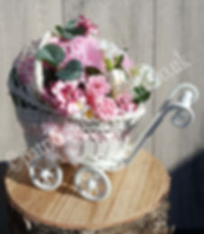 NOVELTY BABY ARTIFICIAL FLOWER PRAM WM.j