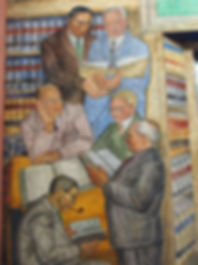 Painting of men in suits looking at books in law library