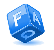 Blue dice with FAQ written in white