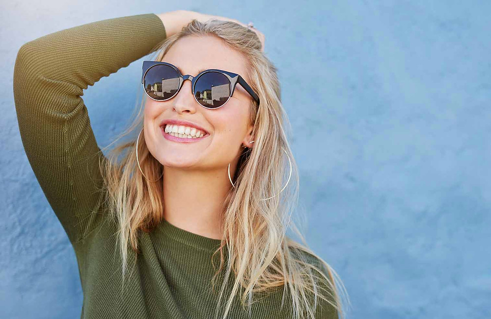 Woman looking happy and confident