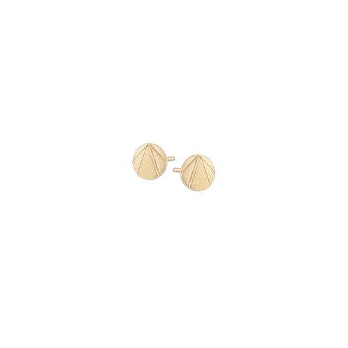Gold stud earrings, art deco style, handmade in Dublin