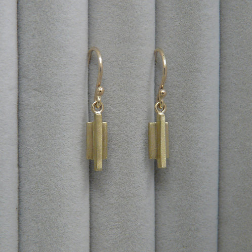 art deco style gold drop earrings, Handmade in Dublin.