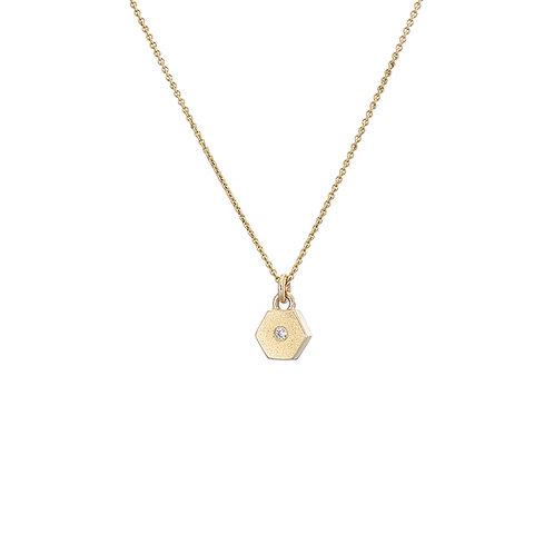 gold and diamond hexagon necklace, handmade in Dublin