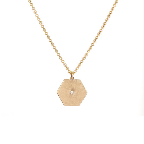 Gold and diamond hexagon necklace