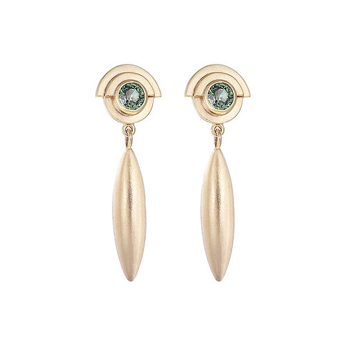 Handmade in Dublin, gold and green sapphire droplet earrings.