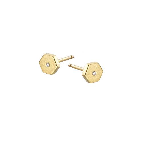 gold and diamond hexagon stud earrings, Handmade in Dublin.