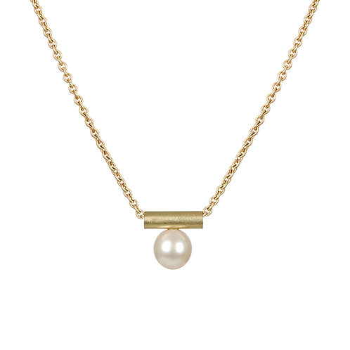 Gold and pearl necklace, Handmade in Dublin.