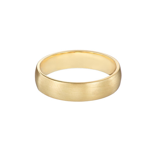 gold wedding ring, wide band, handmade in Dublin