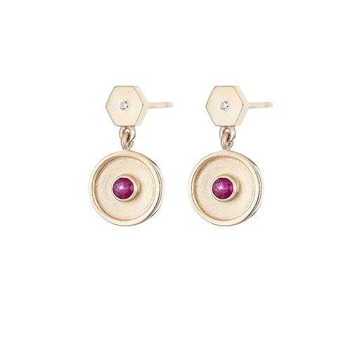 Gold and ruby hexagon drop earrings, handmade in Dublin