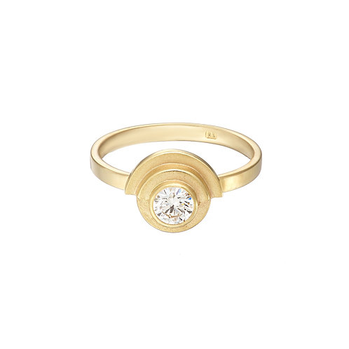 gold and diamond art deco style engagement ring, handmade in Dublin