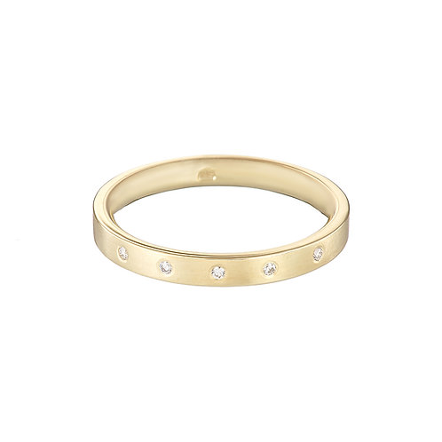 Gold and diamond wedding ring, handmade in Dublin