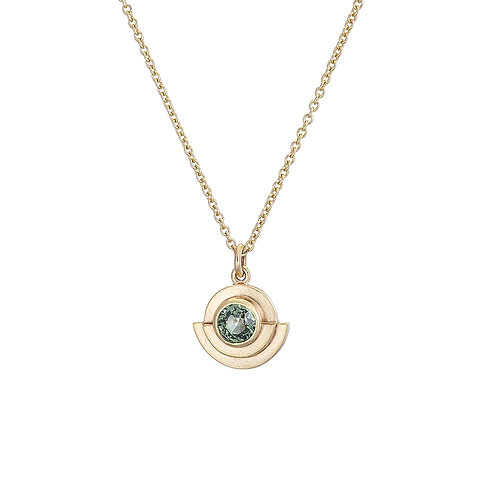 gold and green sapphire art deco style necklace, handmade in Dublin