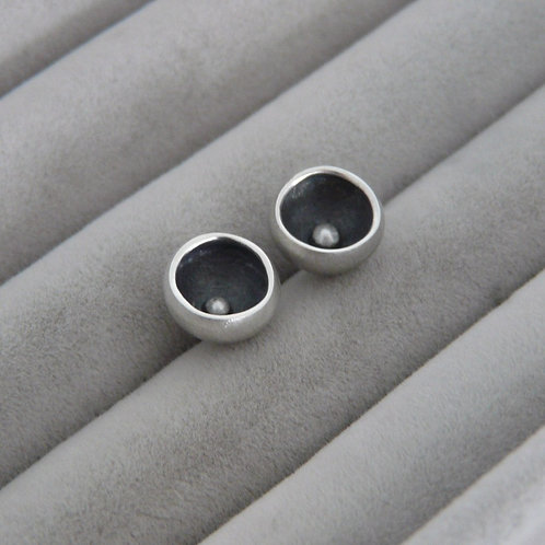 Silver stud earrings,Handmade in Dublin, Ireland.