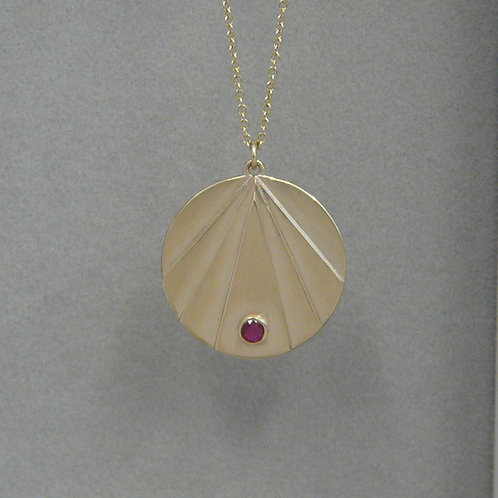 Gold and ruby art deco style necklace, handmade in Dublin
