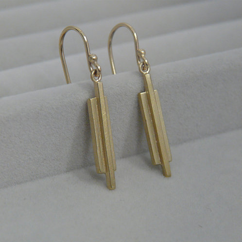 Gold drop earrings, Handmade in Dublin.
