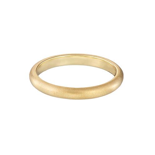 Slim gold wedding ring, handmade in Dublin.