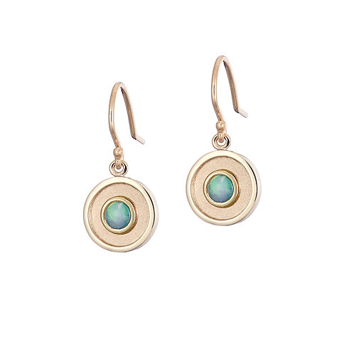 Gold and opal drop earrings, handmade in Dublin.