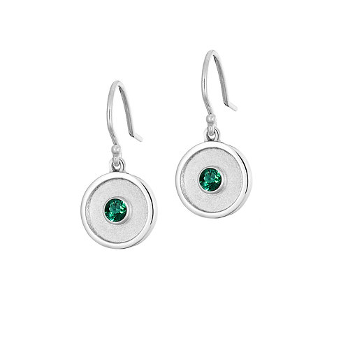 *LIMITED EDITION* SILVER EMERALD AMULET DROP EARRINGS