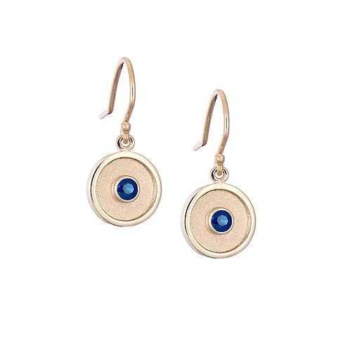 Sapphire drop earrings, handmade in Dublin.