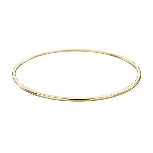 Gold round bangle, Handmade in Dublin.