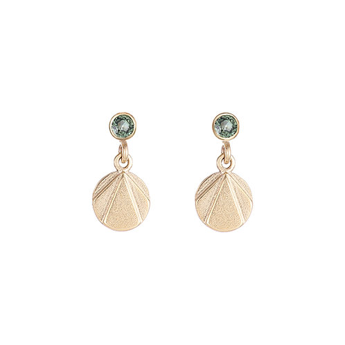 Handmade gold and green sapphire drop earrings, art deco inspired, made in Dublin.