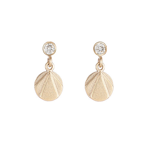 Gold and diamond drop earrings. Handmade in Dublin.