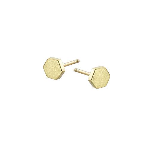 Gold and hexagon stud earrings, handmade in Dublin.