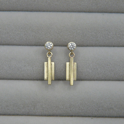 gold and diamond drop earrings, Handmade in Dublin.