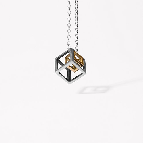 Silver and gold cube necklace, Handmade in Dublin, Ireland.
