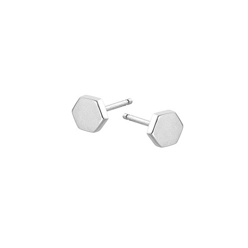 SILVER HEX STUDS