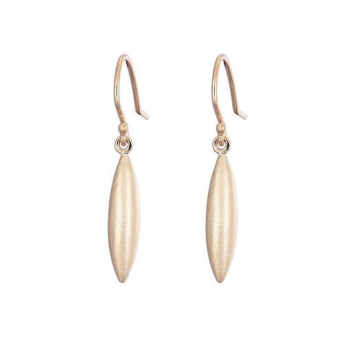 Gold drop earrings, handmade in Dublin
