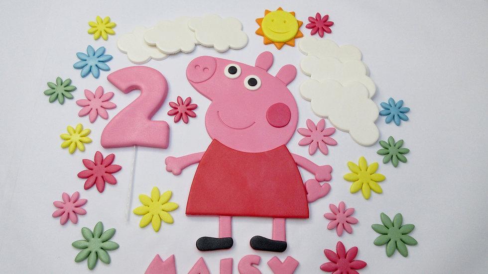 Peppa Pig Edible Cake Topper. Personalised Peppa Pig Cake Decorations