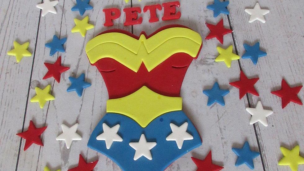 Wonder Woman edible cake topper.