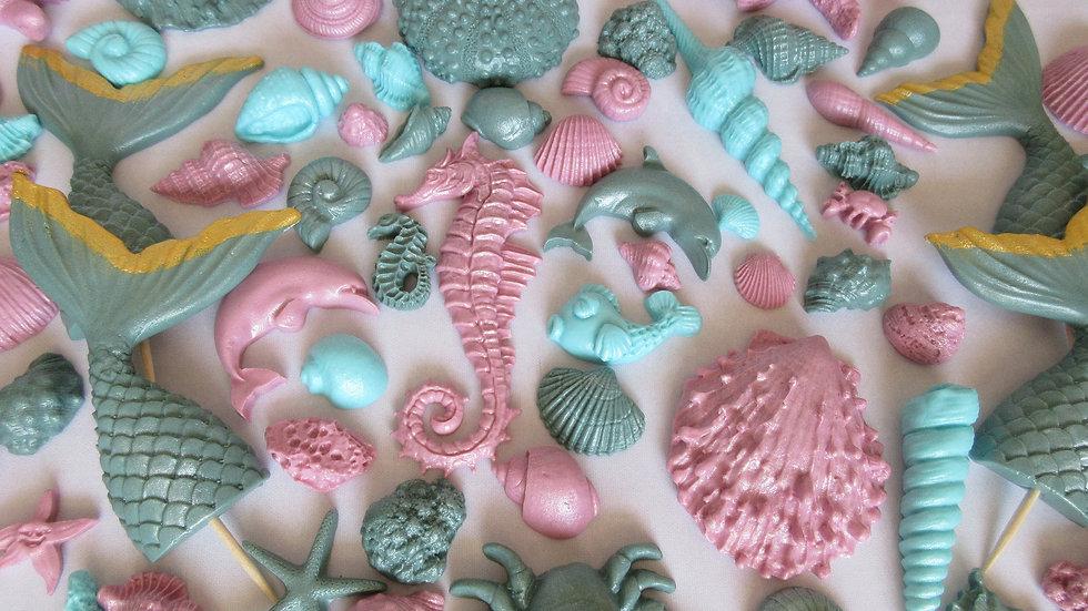 20/40/60/80/100 Edible teal, aqua, lilac seashells & mermaid tails.