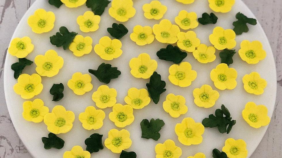 Edible yellow buttercups. Fondant yellow buttercups.