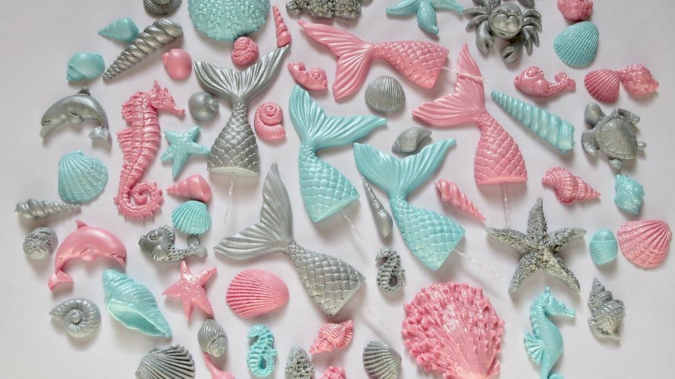Edible Seashells Mermaid Tails Aqua Silver Pink.