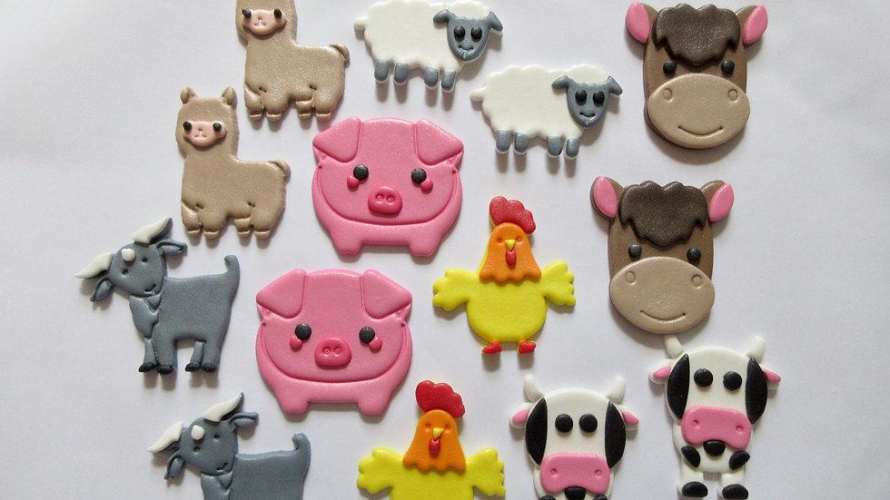 Farm Animals Edible Cupcake Toppers.