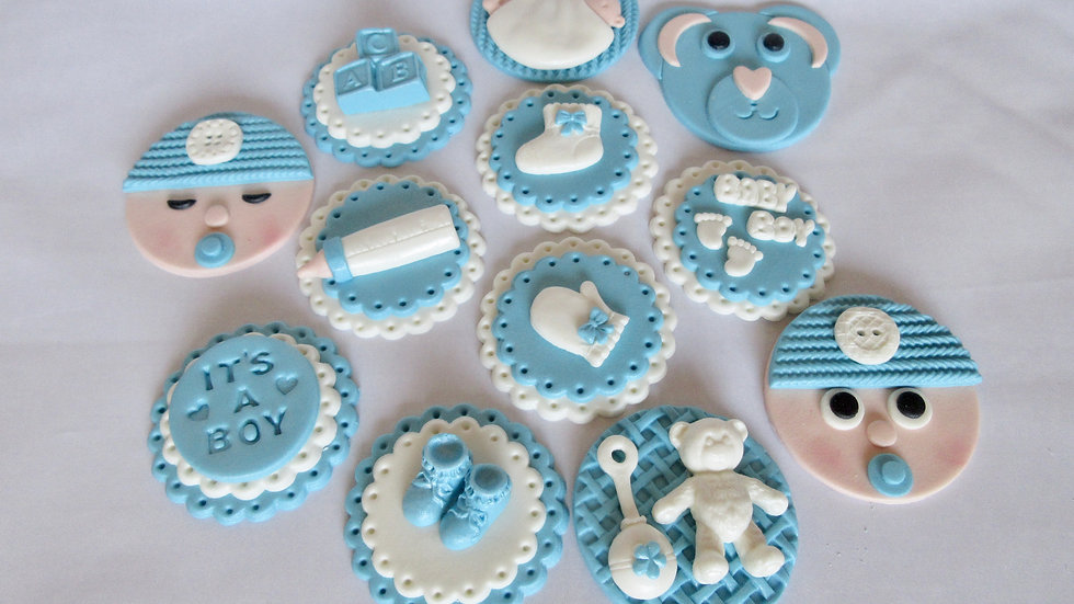 Baby shower edible cupcake toppers. Edible it's a boy.