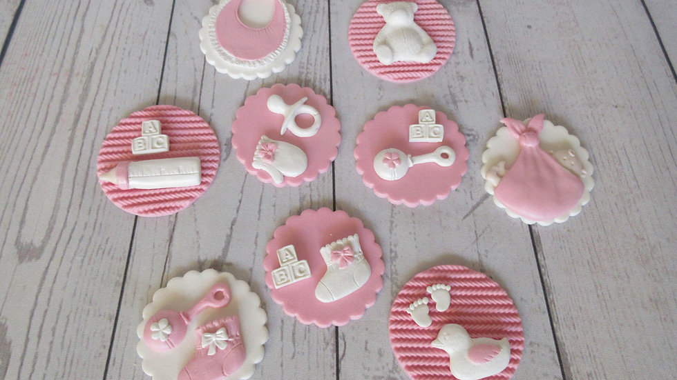Baby shower edible cupcake toppers. Edible it's a girl.