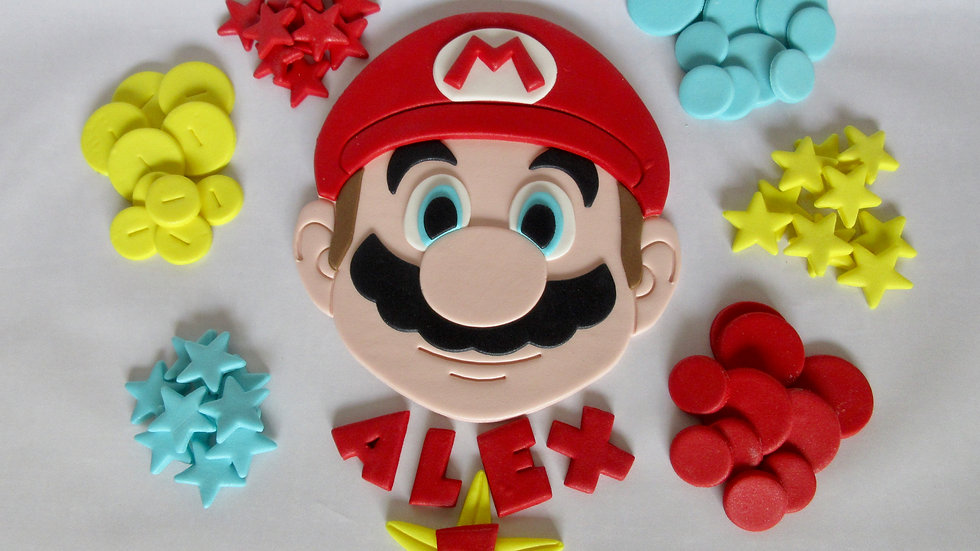 Super Mario edible fondant sugar paste cake topper.