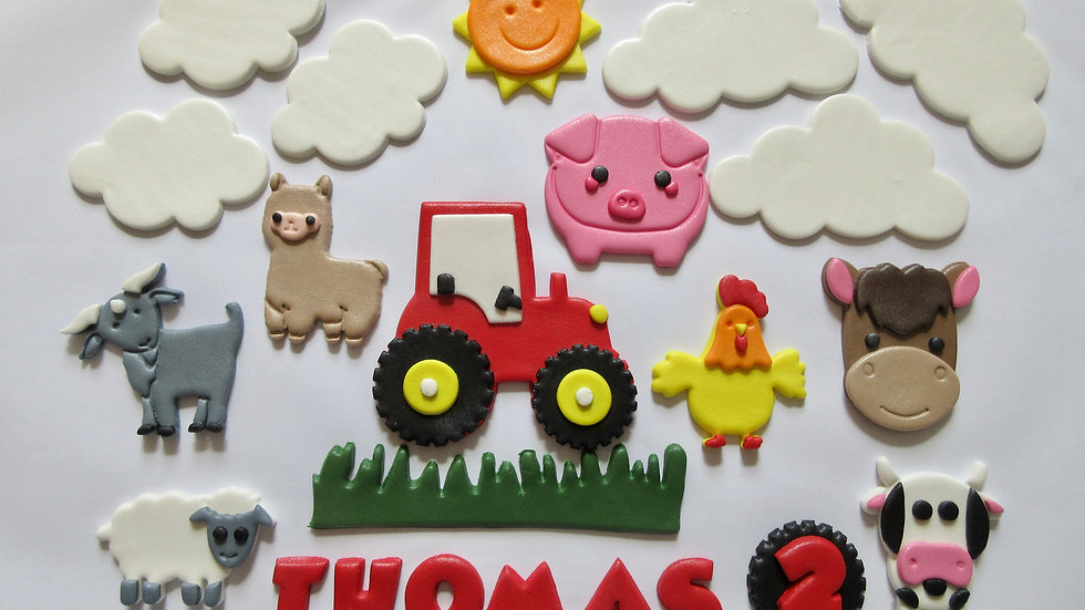 Farm Animals Edible Cake Topper. Fondant Farm Cake Topper.