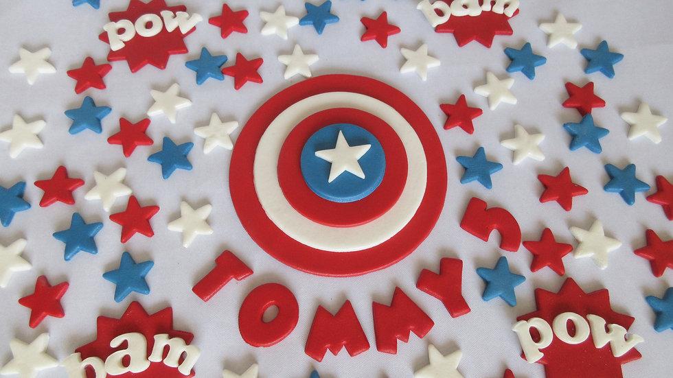 Captain America edible cake topper