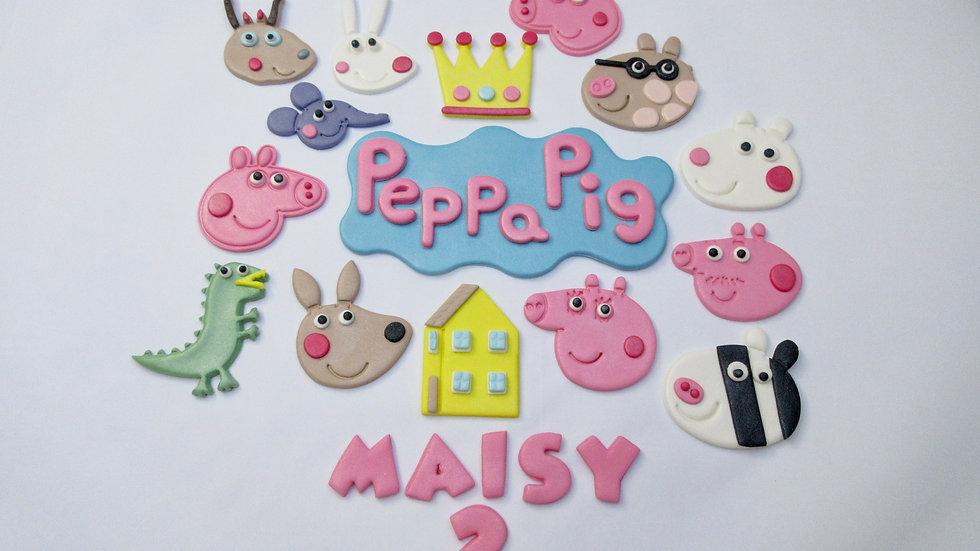 Peppa Pig Edible Cake Topper.