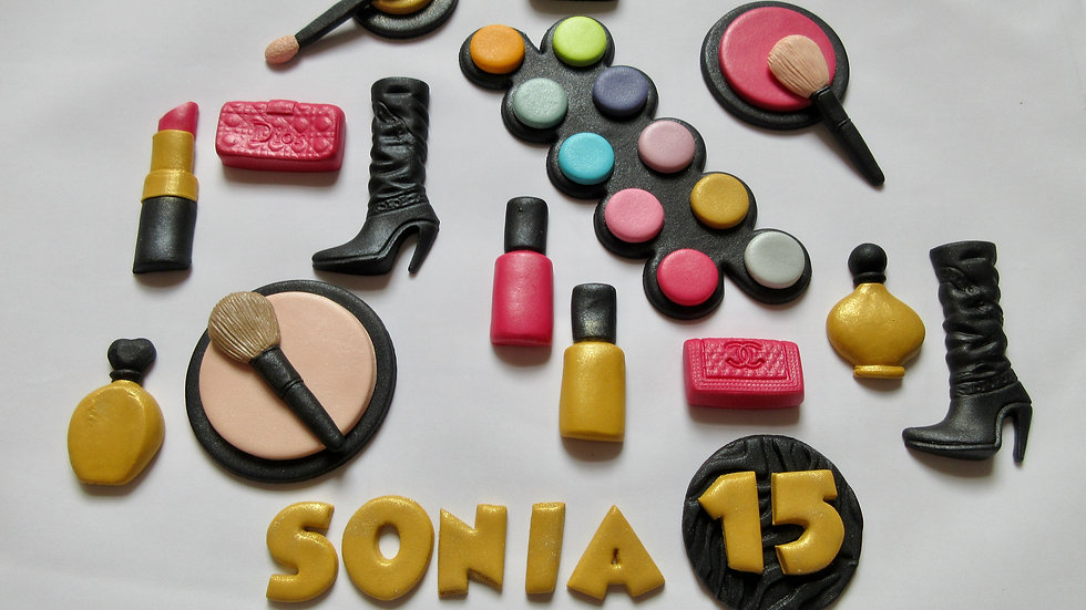 Make Up Set Edible Cake Decorations. Fashion Cake Toppers