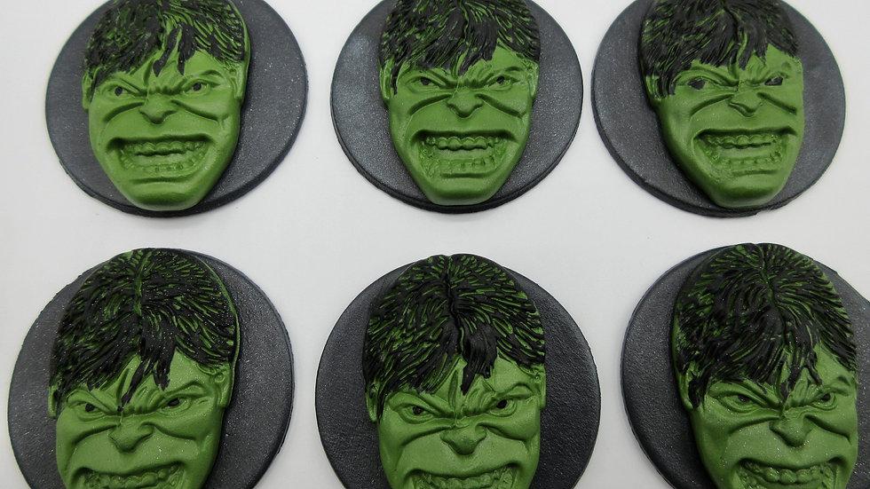 Edible Hulk Fondant Sugar paste  Cupcake Toppers