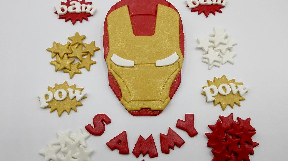 Iron Man edible cake topper.