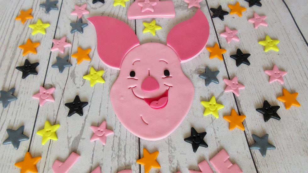 Piglet edible cake topper