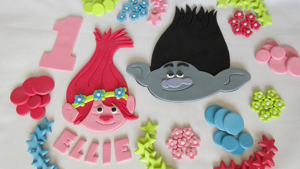 Trolls Princess Poppy & Branch edible cake topper