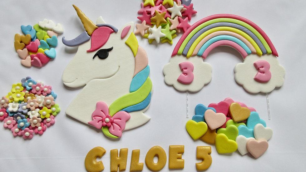 Rainbow Unicorn Edible Cake Topper